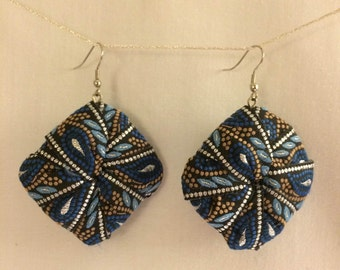 Printed fabric dangle earrings