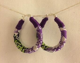Printed fabric raindrop hoop earrings