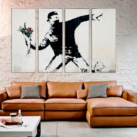 Graffiti street art flowers banksy wall decor banksy print Painting graffiti on bedroom walls
