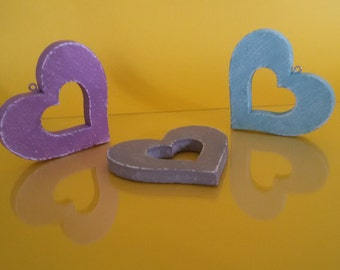 Wooden hearts to hang. Handpainted, turquoise, lilac, taupe. Shabby chic, country chic, cottage chic, provencial style. OOAK