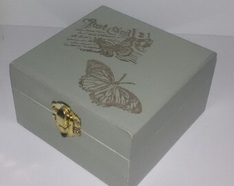 Wooden box, green provencal. Shabby chic, cottage chic, french country decor, butterfly boxes, handpainted. OOAK