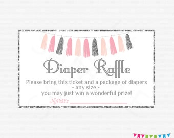 Pink and Silver Baby Shower Diaper Raffle Ticket, Diaper Raffle Sign, Baby Shower Diaper Raffle Cards, Pink Silver Tassels, Printable, TASPS