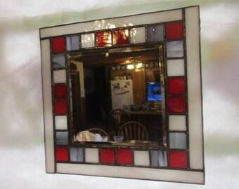 Stained Glass Mirror, Beveled Mirror, Red, White, Gray, Mosaic Mirror, Mirror