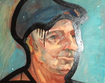Vintage European surrealist oil painting man portrait