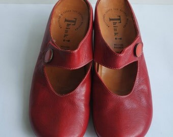 Women's Red Leather Shoes, Leather Clogs, Size 39