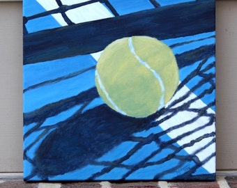Tennis Ball Resting Against the Net on Blue Court: Original Acrylic Painting on Stretched Canvas, 10x10 inches