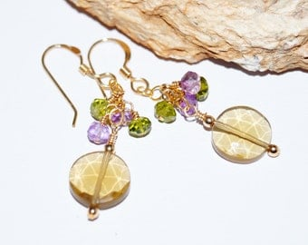 Whiskey Quartz, Green Apatite, Pink Amethyst and Gold Earrings