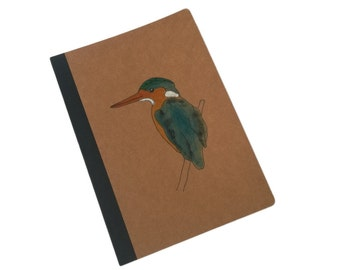 Kingfisher Bird Hand Drawn and Painted A5 Brown Kraft Lined Notenbook Journal