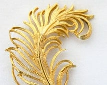 """Vintage Curled Leaf Feather Statement Brooch Gold Tone 2.5"""", Coat Pin, Sweater Pin, Fall Autumn Costume Jewelry, Free Shipping"""