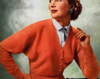 Lady's Dolman Cardigan - Vintage Knitting Pattern PDF