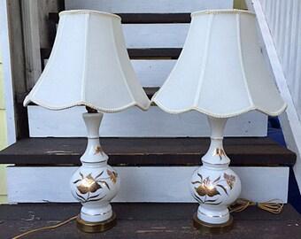 Vintage Lamp Pair with Gold Vine/Leaf Motif