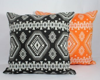Black white geometric 16x16 pillow cover 12x16 pillow cover 20x20 inch pillow orange decorative throw pillow cover 18x18 pillow cover 26x26