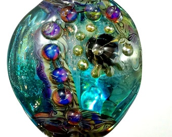 Lampwork-Focal-Organic-Teal Dichro wrapped in Teal Transparent accented with Double Helix Silver Glass