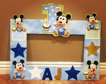 Baby Mickey 1st birthday photo frame in blue, baby blue, photo prop