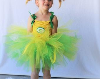 Packer Tutu dress/ Packer Costume/ Green and Gold cheerleader/ Handcrafted/ Girls Fashion/Handmade Tutu dress/ green bay packer tutu