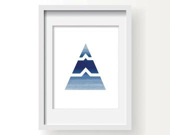Geometric Print, Triangle Print, Navy Geometric Wall Art, Navy Triangle Printable, Geometric Digital Print, Navy and White Art, Navy Artwork