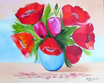 """Poppies and Tulips. Original Oil Painting on Canvas. Perfect Gift for Her. Wall Art-Home Decor-Wall Decor-16"""" x 20"""". 40 x 50 cm. 2016"""