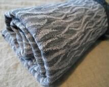 Double face Plaid blanket bedspreads 215 x 138 cm 100% linen Stonewashed blue and purple Jacquard