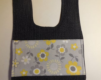 Bib yellow daisies recycled denim