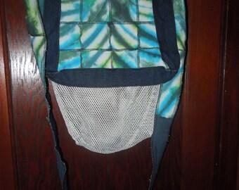 Upcycled Patchwork Tie Dye and Denim Morel Mushroom Hunting Messenger Bag