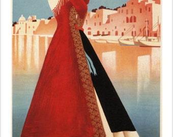 Procida Island Of Graziella Vintage Travel Poster by M. Puppo Italy 1952 24x36