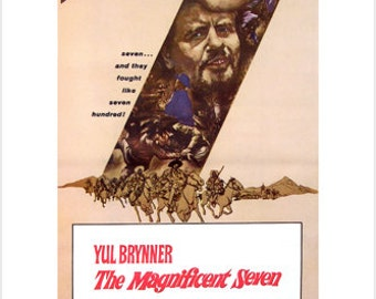 The magnificent seven MOVIE POSTER Yul Brynner, Steve McQueen 1960 24X36 NEW