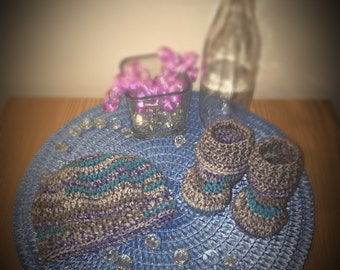 Crochet Baby Beanie and Booties Set