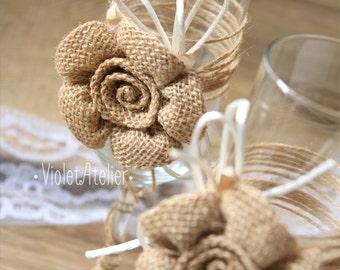Toasting Flutes Rustic Wedding Set, Burlap Flower Toasting Glasses, Wedding Burlap Flutes, Champagne Rustic Glasses, Country Rustic Wedding