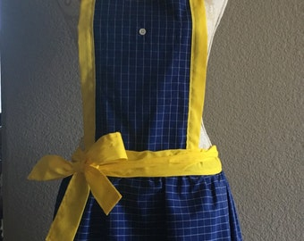 Sweet N' Simple:  blue grid apron with yellow trim