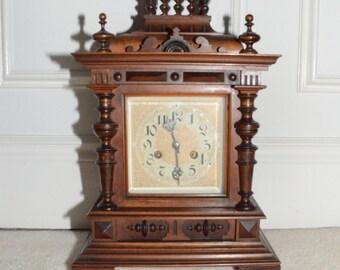 Antique Mantle Clock, Circa 1880, Grunderzeit, Walnut, German