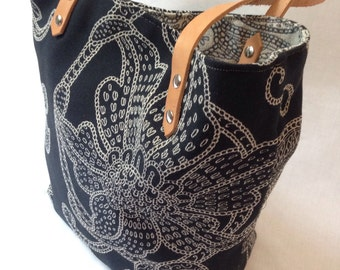 Bags and Purses, Canvas Totes with Leather Handles, Large Bucket Bag, Shoulder Bag, Modern Bag, Handbags