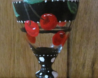 2 Hand Painted Wine Glasses with Cherries