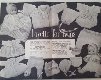Vintage Knitting Pattern, Twin DOLL Layette