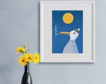 Bathroom Art Print - Bird Illustration, The Skipper