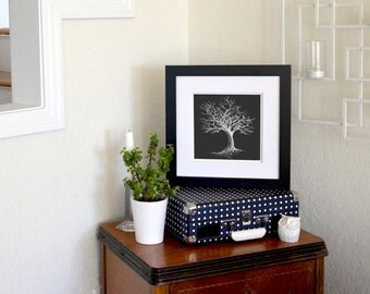 Winter Tree Inverted Freehand Ink Drawing Limited Edition Print, Signed, Numbered 8 in x 8 in