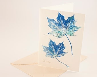 "Card postcard printed Monotype of maple in shades of blue leaves 11.5x16. 5cm (4.5x6, 4 "")"