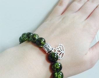 Buddha and lotus charm beaded bracelet
