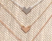 """Handmade Minimalist Tiny Chevron 16"""" Layering Necklace - Silver, Gold, Rose Gold Available - Handcrafted in the Pacific Northwest"""