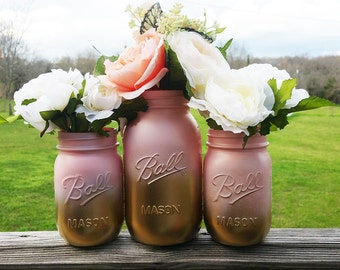 Pink and Gold Ombre Mason Jars, Wedding Table Centerpieces, Baby Shower Centerpieces