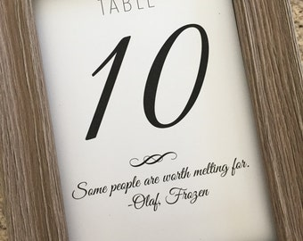 Love Quotes Wedding Table Numbers, 5x7 Table Numbers,Printed Table Numbers
