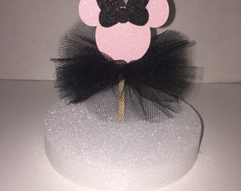 Pink & Black Minnie Mouse Cupcake toppers