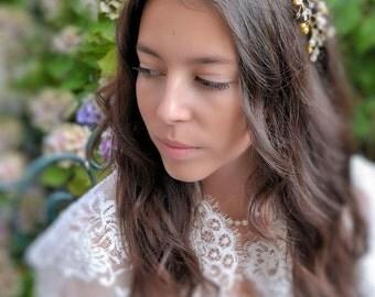 Made in Paris Swarovski and gold Crystal Bridal Headpiece, Wedding Hair Vine,  Crystal beaded head piece, Gold Wedding Hair Accessories