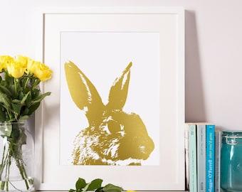 Gold Foil Bunny Print-Bunny Art-Bunny Room Decor 8x10-A4