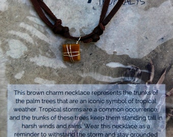 Brown Stone Silver Wrapped Chocolate Deerskin Lace Necklace *Limited Edition*