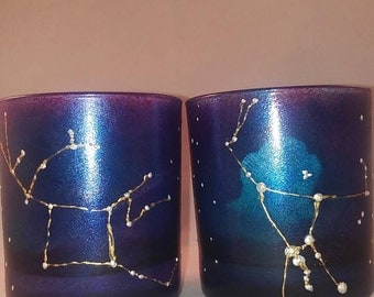 Orion and pegasus Constellation hand painted glasses, gifts under 50, science gifts, astronomy, space gift, christmas gift, birthday gift