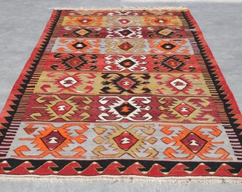 Anatolian turkish kilim rug ,129''x61'' decorative kilim bohemian area rug, vintage turkish kilim, orange  turkish rug, boho rug