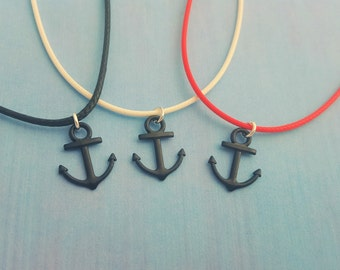 Anchor Necklace, Pirate Party Favors, Kids Necklace, Cord Necklace, Nautical Necklace, Ship Charm, Pirate Theme Party, Pirate Gift, Kid Gift