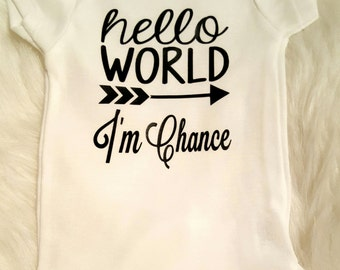 Personalized Hello World Boy's Onesie, Boy's Take Home Outfit, Boy's Newborn Outfit