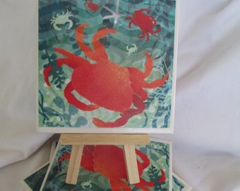 Crab Ceramic Tile Coasters Set of 4, handmade, Drink Coasters, hostess gift, barware, Home Decor, SeasideCoasters, Crab Coasters