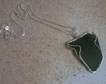 Dark Forest Green Sea Glass Necklace
